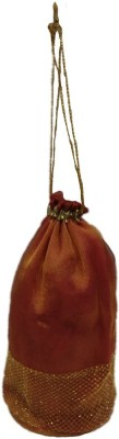 Shreeji Decoration Designer Net Handmade Silk Potli Batwa Pouch Bag Gift For Women Potli(Maroon)  available at flipkart for Rs.99