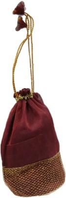 Shreeji Decoration Designer Net Handmade Silk Potli Batwa Pouch Bag Gift For Women Potli(Brown)  available at flipkart for Rs.99