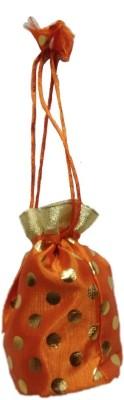Shreeji Decoration Polka Dot Theme Ethnic Handmade Silk Potli Batwa Pouch Bag Gift For Women Potli(Orange)  available at flipkart for Rs.90