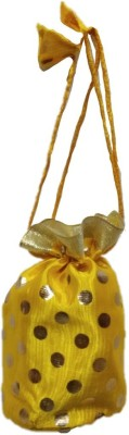 Shreeji Decoration Polka Dot Theme Ethnic Handmade Silk Potli Batwa Pouch Bag Gift For Women Potli(Yellow)  available at flipkart for Rs.90