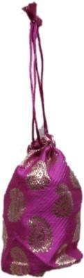 Shreeji Decoration Fancy Design Handmade Silk Potli Batwa Pouch Bag Gift For Women Potli(Pink)  available at flipkart for Rs.90
