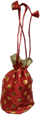 Shreeji Decoration Polka Dot Theme Ethnic Handmade Silk Potli Batwa Pouch Bag Gift For Women Potli(Red)  available at flipkart for Rs.90
