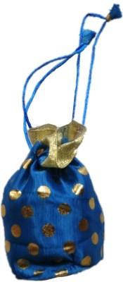Shreeji Decoration Polka Dot ThemeEthnic Handmade Silk Potli Batwa Pouch Bag Gift For Women Potli(Blue)  available at flipkart for Rs.90