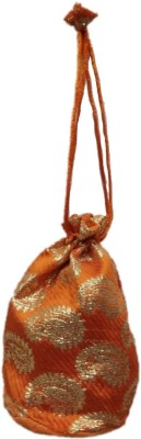 Shreeji Decoration Fancy Design Handmade Silk Potli Batwa Pouch Bag Gift For Women Potli(Orange)  available at flipkart for Rs.90