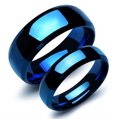 Yellow Chimes Platinum Plated Never Fading Metallic Blue Couple Rings Stainless Steel Sterling Silver Plated Ring at flipkart