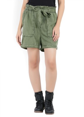Vero Moda Solid Women Green Bermuda Shorts, Basic Shorts at flipkart