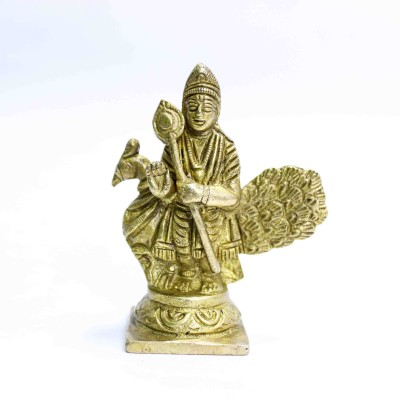 THE HOLY MART Pure Brass Murgan/ Kartikeya deities (8 cm high) | Hindu God idol Shiva family Decorative Showpiece  -  8 cm(Brass, Gold)