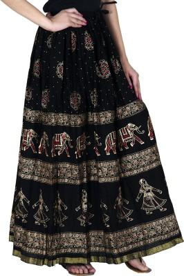 Sablani Printed Women A-line Black Skirt