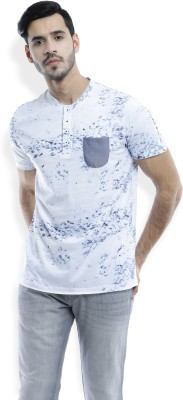 Ruggers Printed Men's Henley Blue T-Shirt