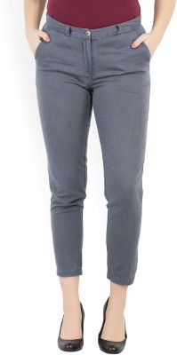 Vero Moda Slim Fit Women Grey Trousers at flipkart