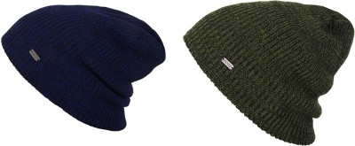 Noise Noise Combo of Jet Black and Sapphire Blue Wave Knitted Beanie cap Solid Beanie Cap