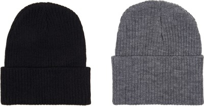 Noise Noise combo of Grey and Black Sleeked Knitted Beanie cap Solid Beanie Cap