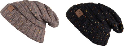 Noise Noise combo of Grey and Black Dot Knitted Beanie cap Solid Beanie Cap