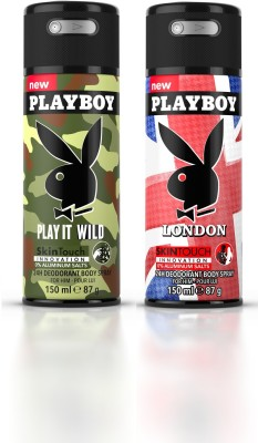 Playboy Play it Wild M + Lndon Deodorant Spray  -  For Men(300 ml, Pack of 2)  available at flipkart for Rs.349