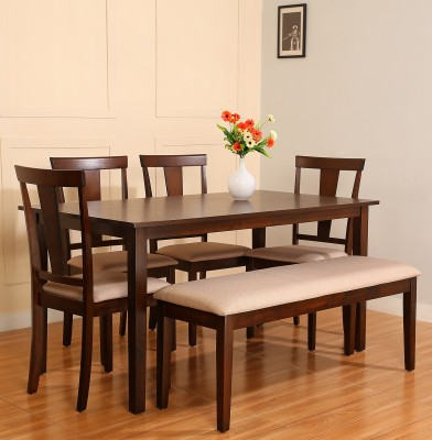 Perfect Homes by Flipkart Hayman Engineered Wood 4 Seater Dining Set(Finish Color - Walnut)