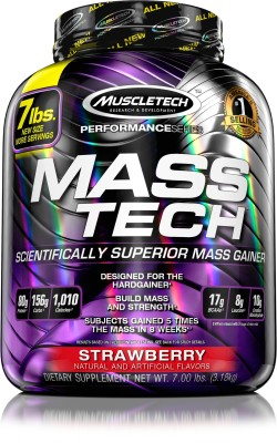 Muscletech Performance Series Masstech Weight Gainers/Mass Gainers(3.18 kg, Strawberry)