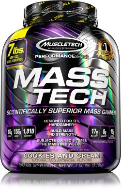 Muscletech Performance Series Masstech Weight Gainers Mass Gainers, 3.18 KG/7 LB Cookies and Cream