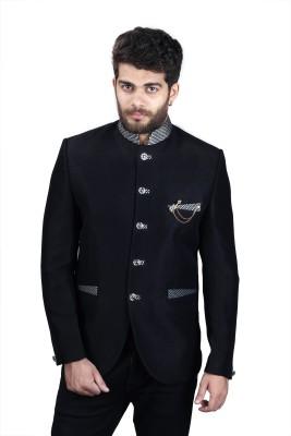 Mark Estilo Solid Mandarin Party Men's Blazer(Black)