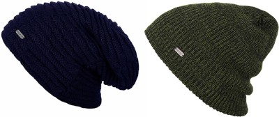 Noise Noise Combo of Sapphire Blue Wave and Olive Streaked Knitted Beanie Cap Solid Beanie Cap(Pack of 2)