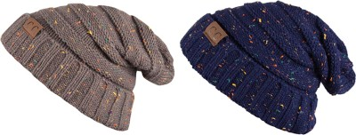 Noise Noise combo of Blue and Grey Dot Knitted Beanie cap Beanie Cap(Pack of 2)
