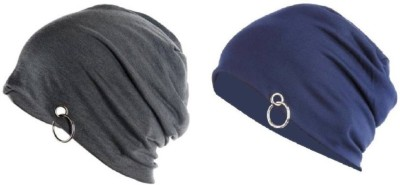 Saifpro Solid Skull Beanie with ring Cap(Pack of 2)