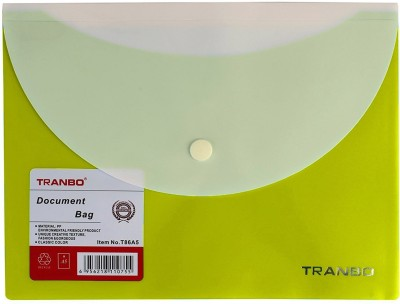 TRANBO Polyproplyne A5 Document Bag with Front & Back Pocket, 1 Pc Set, Assorted Colors(Set Of 1, Green)  available at flipkart for Rs.179