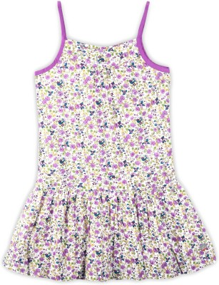 US Polo Kids Girls Midi/Knee Length Casual Dress(Multicolor, Sleeveless)