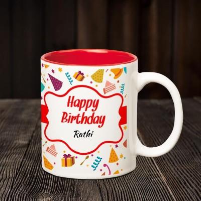 Huppme Happy Birthday Rathi Inner Red Coffee name mug Ceramic Mug(350 ml)