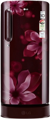 LG 190 L Direct Cool Single Door 4 Star Refrigerator with Base Drawer scarlet orchid, GL D201ASOX