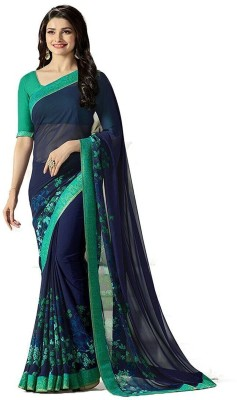Darshita International Floral Print Bollywood Georgette Saree(Dark Blue)