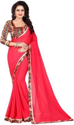 162ac30979 81% OFF on Ishin Solid Bollywood Synthetic Chiffon Saree(Red) on Flipkart |  PaisaWapas.com