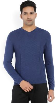 Arrow New York Self Design V-neck Casual Men Blue Sweater