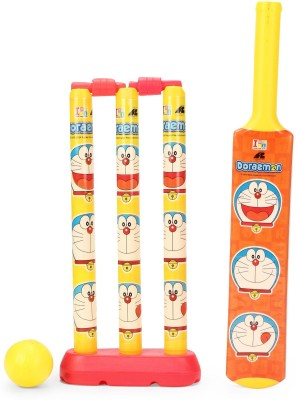 Doraemon Plastic Bat ball set for kids of age 3 to 8 years net packing for easy storage Premium quality certified as EN 71 European standard safe for child Sports outdoor toys for kids Sports development toys Yellow colour Includes Bat Ball Cricket