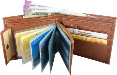 SA Enterprises Men Casual Tan Artificial Leather Wallet(8 Card Slots)