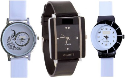 INDIUM PS0203PS Diamond studded letest collaction with beautiful attractive peacock White And black squar set of 3 watch Watch  - For Girls   Watches  (INDIUM)