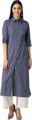 Libas Women Checkered Frontslit Kurta(Blue, Grey)