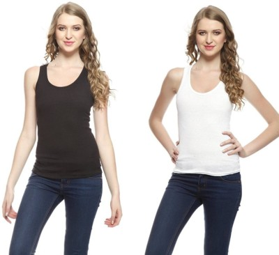 iShop Casual Sleeveless Solid Women White, Black Top