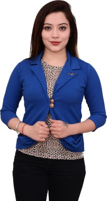 AAKRITHI Solid Single Breasted Formal Women Blazer(Blue)