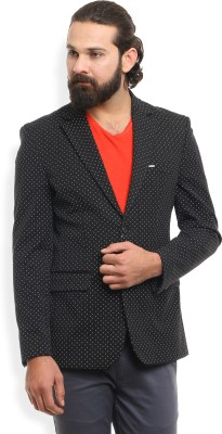 Numero Uno Polka Print Single Breasted Party, Casual Men Blazer(Black) at flipkart