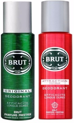 Brut Original+Attraction Totale Efficacite Longue Duree Deodorant Deodorant Spray  -  For Men(200 ml, Pack of 2)  available at flipkart for Rs.550