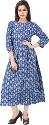 Handloom-Palace Women Maxi Blue Dress