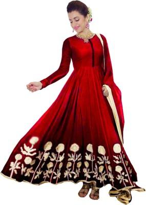 Clickedia Faux Georgette Self Design Salwar Suit Dupatta & Waistcoat Material(Un-stitched)