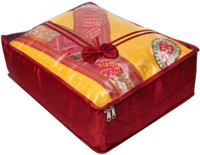 Addyz Transparent Large Satin Saree Cover Salwar Suit Kamiz Cover Storage Bag Maroon Addyz Garment Covers