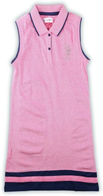 US Polo Kids Girls Midi/Knee Length Casual Dress(Pink, Sleeveless)