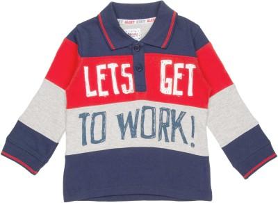 DONUTS Boys & Girls Printed Cotton Lycra Blend T Shirt(Dark Blue, Pack of 1)