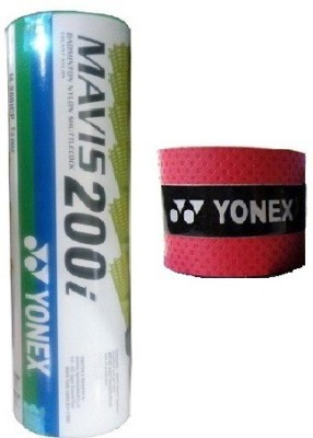 Yonex Combo of Two, One 'Mavis 200i' Nylon Shuttle Cock (Pack of 6) and 1 'E Tech 901' Badminton Grip (Color On Availability) Badminton Kit  available at flipkart for Rs.480