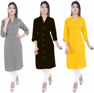 Blezza Casual Solid Women Kurti(Pack of 3, Grey, Black, Yellow)