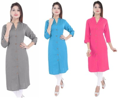 Blezza Casual Solid Women Kurti(Pack of 3, Grey, Light Blue, Pink)
