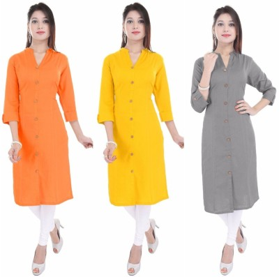 Blezza Casual Solid Women Kurti(Pack of 3, Orange, Yellow, Grey)