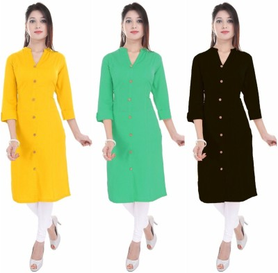 FEBIA Casual Solid Women Kurti(Pack of 3, Black, Yellow, Pink)